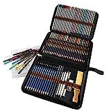 Matite Colorate Professionali, Kit Disegno Completo 72 pezzi con da 24 Matite Acquerello 12 Matite Colorate 12 Matite Metalliche 12 Matite da Disegno e Accessori, ideali per Bambini Adulti