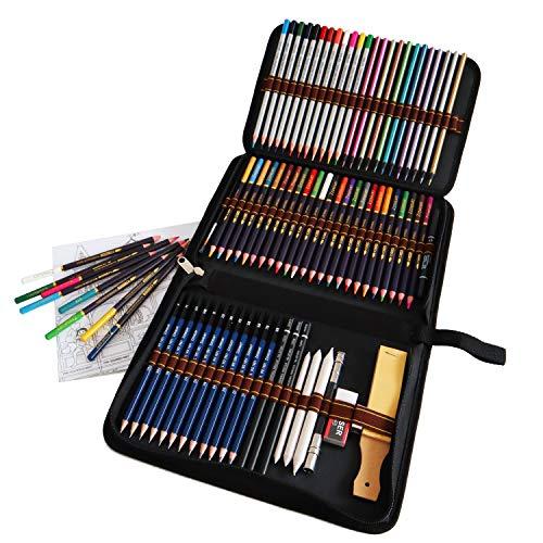 Lapices Colores Profesionales, Kit Dibujo Completo 72 Piezas incluye 24 Lapices Acuarelables 12 Lapices Colores 12 Lapices Metálicos 12 Lapices de Dibujo y Accesorios, Ideal para Adultos y Niños