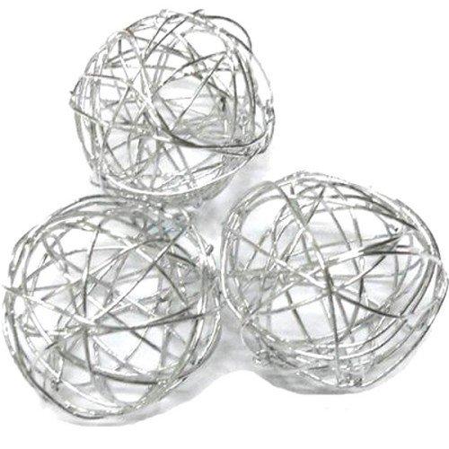 Au plaisr des yeux - 10 boules fil métal argent diamètre 2,5 cm Décor de table