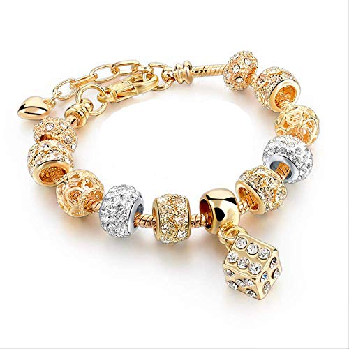 DODO.GOGO Stylish Gold Plated Diamond Pendant Female Snake Bone Chain Bracelet