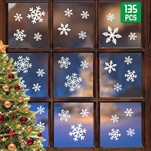 WEARXI Boże Narodzenie okno przylegające płatek śniegu 135 płatków naklejki dekoracje, dekoracja świąteczna prezent okno przylegające naklejki wielokrotnego użytku naklejka do domu sklepu dekoracja szkło