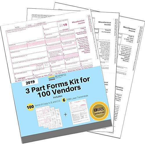 """1099 MISC Tax Forms 2019 Returns 3 Part Kit for 100 Vendors + 1096 Laser Transmittals - 8.5""""x11""""inches - IRS Approved Bundle Designed for QuickBooks and Accounting Software (3part-100)"""