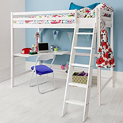 Cabin Bed High Sleeeper & Mattress with Desk in WHITE, Bunk Bed - HIGH Sleeper W + MATTRESS Noa & Nani