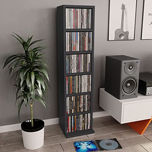vidaXL Estantería para CDs Aglomerado Mobiliario Organizador Colección Música Elegante Práctica Moderna Duradera Resistente Robusta Gris 21x20x88cm