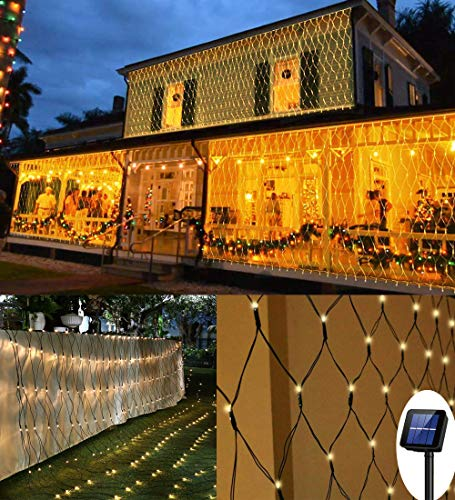 200 LED Solar Net Light, 3M x 2M Mesh Fairy String Lights, 8 Modes Outdoor Weatherproof Curtain Lights, Auto ON/Off Tree Wrap Christmas Decorative Light for Balcony Fence Garden Backyard (Warm White)
