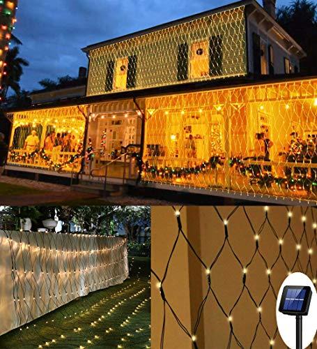 200 LEDs Lichternetz, 3M x 2M Lichterkette Netzlicht, 8 Modi Auto ON/OFF Wasserdichte Mesh Lichtervorhang, Christbaumlichterkette für Weihnachten Party Garten Indoor Outdoor Dekorationen, Warmweiß