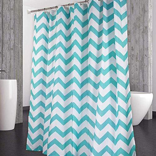 CAROMIO Shower Curtain, Aqua and White Chevron Striped Fabric Shower Curtain for Bathroom Geometric Washable, 72x72 Inch