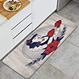 FOURFOOL,Emblem of Pinup Boxing Girl with Flowers Tattoos and Gloves Retro Style,Anti Fatigue Kitchen Mat Comfort Floor Mats Waterproof Non-Slip Oil Stain Resistant Easy to Clean Kitchen Rug
