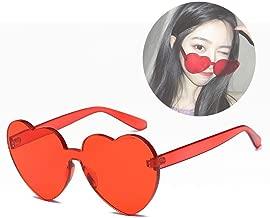 Women's Heart Shaped Sunglasses, Transparent Candy Color, Steampunk Sunglasses,UV400 (Color : B)