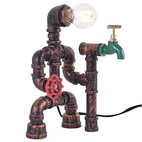 Steampunk Lampada da tavolo industriale vintage in ferro ruggine con pipa ad acqua Lampada da tavolo con interruttore a valvola rossa e rubinetto verde
