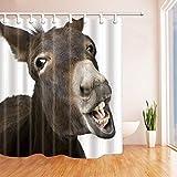 KUKUALE 1 Stück Tierliebhaber Netter lustiger Esel Duschvorhang im Bad Wasserdichtes Polyestergewebe Badezimmer Fantastische Dekorationen Badvorhänge 180X180Cm (71X71In)