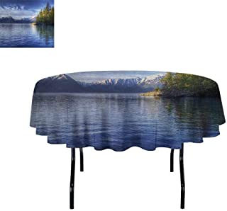 Curioly Alaska Printed Tablecloth Turnagain Arm of The Cook Inlet Anchorage Idyllic Lakeside Photography Desktop Protection pad D70 Inch Lime Green Navy Blue