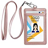 Leather ID Badge Holder, Vertical PU Leather ID Badge Holder with 1 Clear ID Window & 1 Cr...