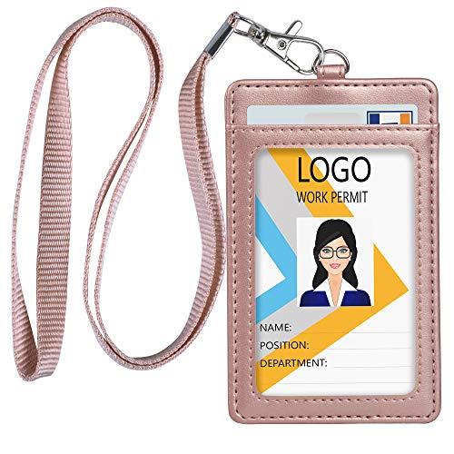 Teskyer Leather ID Badge Holder, Vertical PU Leather ID Badge Holder with 1 Clear ID Window & 1 Credit Card Slot and a Detachable Neck Lanyard (Rose Gold)