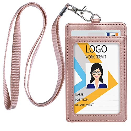 Teskyer Leather ID Badge Holder, Vertical PU Leather ID Badge Holder with 1 Clear ID Window & 1 Credit Card Slot and a Detachable Neck Lanyard (Rose Gold)