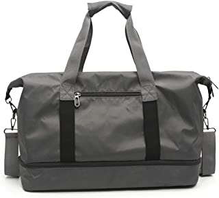 Travel Bag Neutral, Yoga Carry-on Duffel Bag, Large Capacity (20~35L) Oxford Cloth Gym Bag, Light and Breathable Foldable, Suitable for Short Trips,Gray