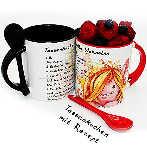 Sunnywall 2er-Set | Tassenkuchen mit Rezept in 5 Minuten, Löffeltasse, Kaffee- oder Tee-Tasse | Mug Cake | Mikrowellenkuchen - Geschenk zum Valentinstag - Geburtstag - perfekte Geschenkidee