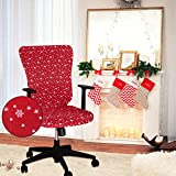LUSHVIDA Christmas Office Chair Covers Stretch Washable Computer Boss Chair Slipcovers for Universal Rotating Boss Chair Protector Slipcovers Large
