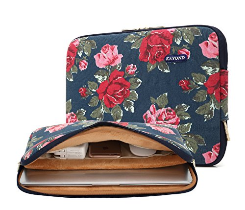 Kayond Blue Peony Water-resistant 12.5 inch 13 inch Canvas laptop sleeve with pocket for 13.3 inch laptop case macbook air 13 case macbook pro 13 sleeve ipad 12.9 (13-13.3 inch, Blue Peony)