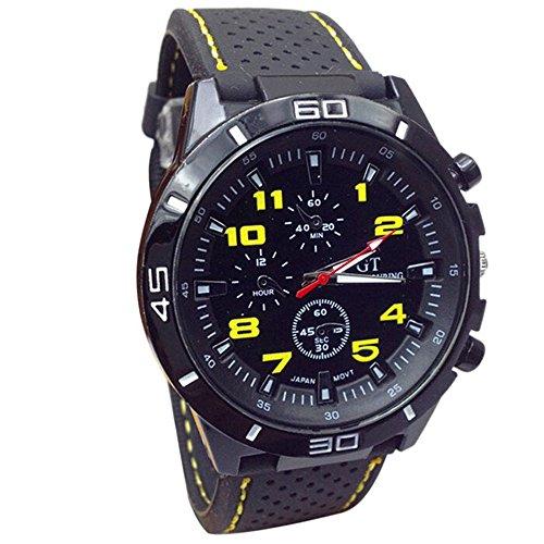 Han Shi Wristwatch, Fashion Men Military Quartz Watch Hours Analog Sport Wrist Watch Clock (A, Yellow)