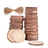 50 Pcs 1.9'-2.4' Natural Wood Slices Unfinished Predrilled with HolesWooden Circles with Barks DIY Ornaments Wood Kit Suits Arts and Crafts Wedding Centerpieces Adult Crafts