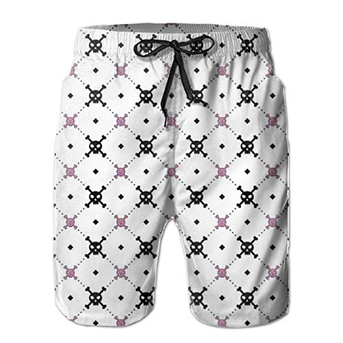 Men's Big and Tall Swim Trunks Beachwear Drawstring Summer Holiday,Girly Skull and Crossbones Checkered Pattern Simple Artistic Design Image,3D Print Shorts Pants,XL