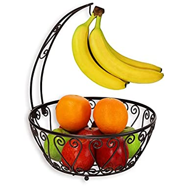SimpleHouseware Fruit Basket Bowl with Banana Tree Hanger, Bronze