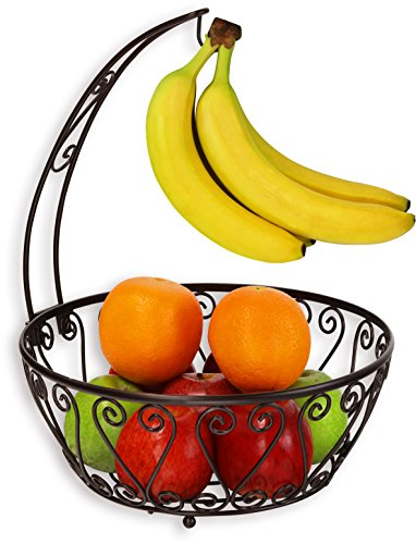 SimpleHouseware Fruit Basket Bowl with Banana Tree Hanger Bronze