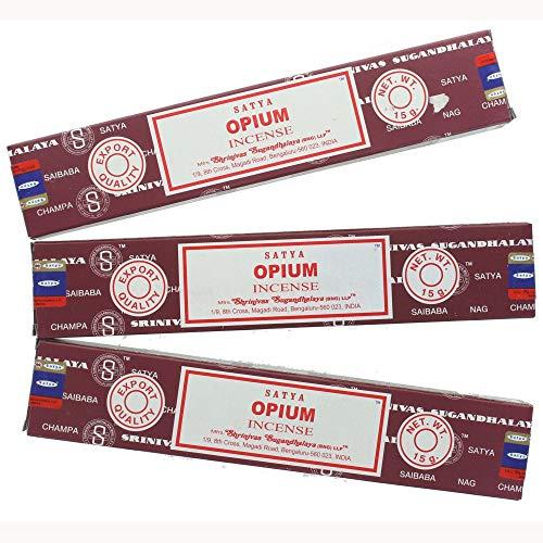 Satya Nag Champa Räucherstäbchen, Opiumduft, 3 Packungen