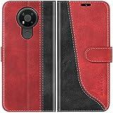 Mulbess Handyhülle für Nokia 3.4 Hülle, Nokia 3.4 Hülle Leder, Etui Flip Handytasche Schutzhülle für Nokia 3.4 Hülle, Wine Rot