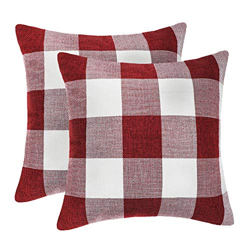 4TH Emotion Set of 2 Farmhouse Buffalo Check Plaid Throw Pillow Covers Cushion Case Cotton Linen for Christmas Home Decor Red and White, 20 x 20 Inches