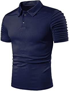 Abeaicoc Mens Business Casual Solid Lapel Ruched Short Sleeve Golf Polo Shirt