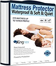 Kingnex Waterproof Split King Mattress Protector for Adjustable Beds Cooling Bamboo Jersey Ultra Soft Noiseless Smooth Top Fitted Matressprotector Cover with Deep Pocket