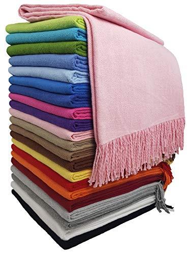STTS International Baumwolldecke Wohndecke Kuscheldecke Tagesdecke 100% Baumwolle 130 x 170 cm sehr weiches Plaid Rio (Rosa)
