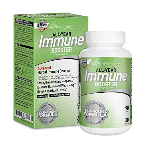 BioGenetic Laboratories Immune Booster with Elderberry, Vitamin C, Vitamin A, Vitamin D, and Zinc - Multi-System Immune Defense and Herbal Immune Support - Year-Round Potent Support (90 Capsules)