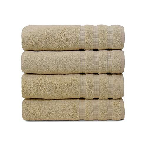 Turquoise Textile Textil, 100% weiche türkische Baumwolle, luxuriöses und umweltfreundliches Badetuch-Set für Zuhause, Hotel und Spa, hergestellt in der Türkei, 4 Stück Bath Towel - 4 PK cremefarben