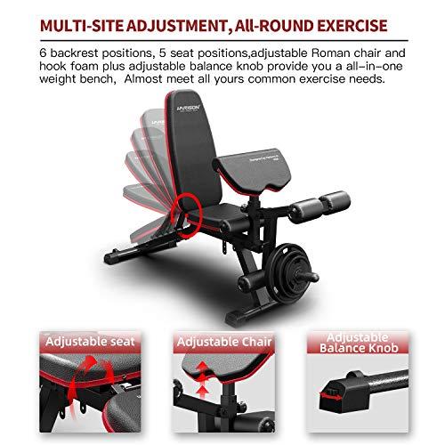 HARISON Weight Bench Adjustable Flat Incline Decline Bench