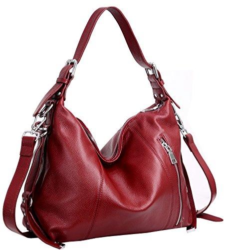 Heshe Vintage Womens Leather Handbags Tote Bag Top Handle Bag Satchel Designer Purses Cross-body Bag (Wine)