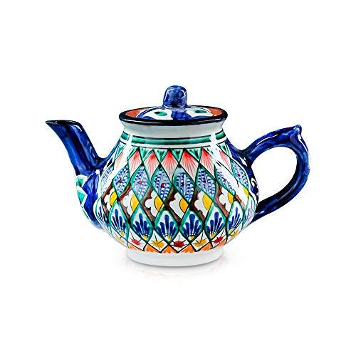 orientalische Rishtan Keramik Teekanne handbemalt, 700 ml, blau