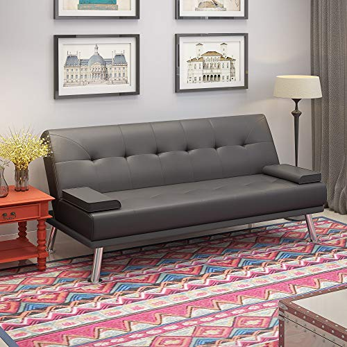 Faux Leather Sofa Bed 2 to 3 Seater Modern Sleeper Couch Double Padded with 2 Cushions for Lounge Living Room Gray