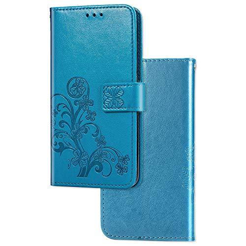 COTDINFOR Etui für Xiaomi Redmi 7A Hülle PU Leder Cover Schutzhülle Magnet Tasche Flip Handytasche im Bookstyle Kartenfächer Lederhülle für Xiaomi Redmi 7A Clover Blue SD