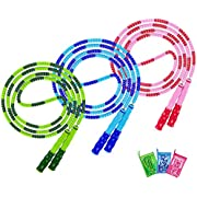 Jump Rope, Adjustable Length Tangle-Free Segmented Soft Beaded Skipping Rope, Fitness Jump Rope for Kids, Man, and Women Weight Loss 9.2 Feet(3-Pack)