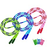 Jump Rope, Adjustable Length Tangle-Free Segmented Soft Beaded Skipping Rope, Fitness Jump Rope for...