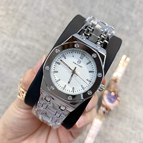 shangwang Acero inoxidable Señoras reloj de lujo cuarzo moda moderno reloj casual señoras reloj Silverwhitedial