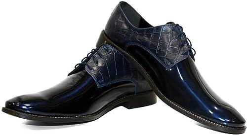 Modello Sapphire - Cuero Italiano Hecho A Mano Hombre Piel Farbe Blau Marino schuhe Vestir Oxfords - Cuero Charol - Encaje