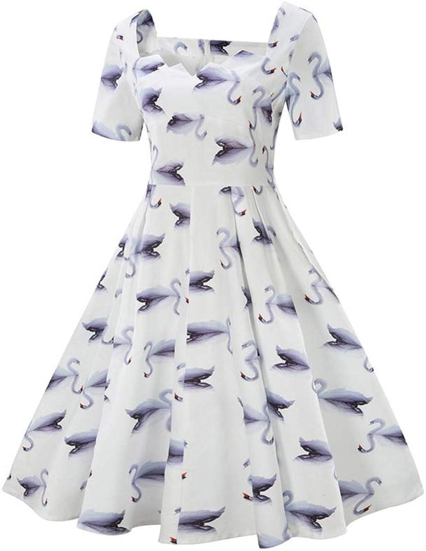 Aignse Dress Summer Pleated Women Tunic Swing Dress Bird Print Robe Rock Party Dress