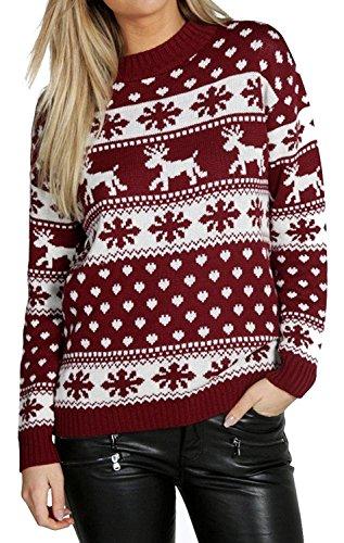 MyMixTrendz Mujeres Reindeer Snowflake Niños Navidad Madre Hija Hija Navidad 3-13 Año Jumper Tamaño Superior 36-52 (SM (EU 36-38), Vino)