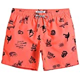 MaaMgic Shorts de Baño para Hombre Shorts de Playa Traje de Bañode Secado Rápido para Vacaciones Diseño a Rayas (Naranja Bulldog, S)