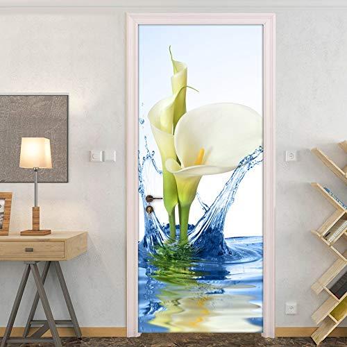 DFKJ Flor DIY Autoadhesivo para Puerta Pegatina Impermeable Mural de Pared para Dormitorio Sala de Estar decoración de baño A1 95x215cm