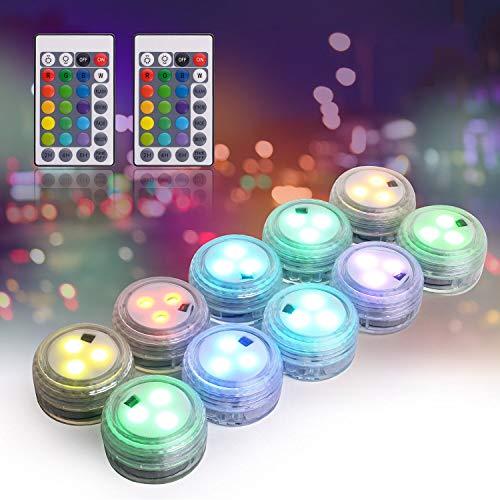 Herefun Unterwasser LED Licht, 10 Stück Mini Unterwasser LED mit 2 Fernbedienung, Wasserdichte LED Kerze Multi Farbwechsel Flammenlose LED Runde Stimmungslicht für Schwimmbad Aquarium Party